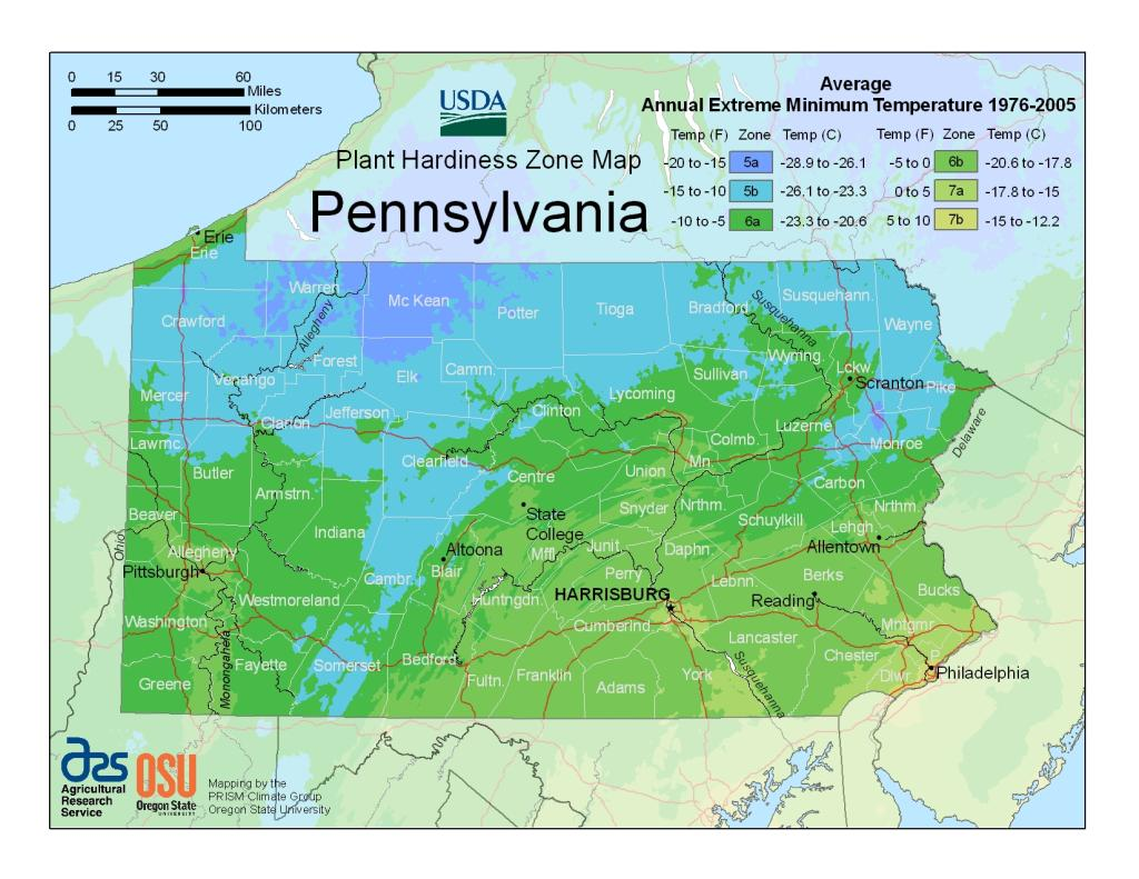 USDA Plant Hardiness Zone map for Pennsylvania as of May 2018 (map from USDA.gov)